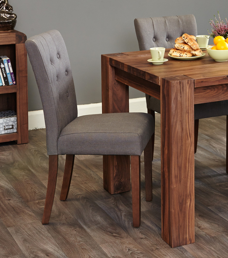 walnut flare back upholstered dining chair slate pack of two